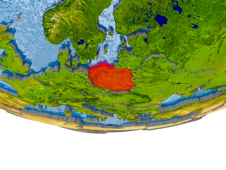 Poland on 3D model of globe with real land surface, visible country borders and water in place of ocean. 3D illustration.