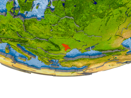 Moldova on 3D model of globe with real land surface, visible country borders and water in place of ocean. 3D illustration.