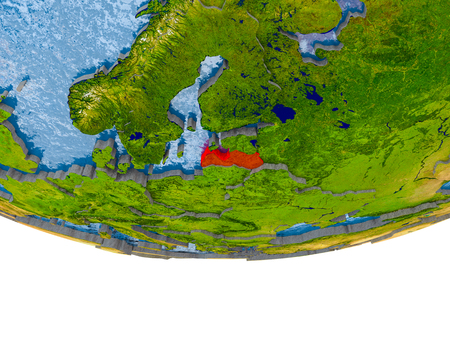Latvia on 3D model of globe with real land surface, visible country borders and water in place of ocean. 3D illustration.