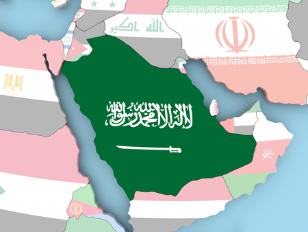 Saudi Arabia with embedded flag. 3D illustration. Stock Photo