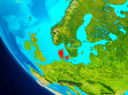 Denmark highlighted in red on planet Earth. 3D illustration.