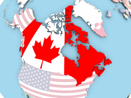 Canada with embedded flag. 3D illustration.