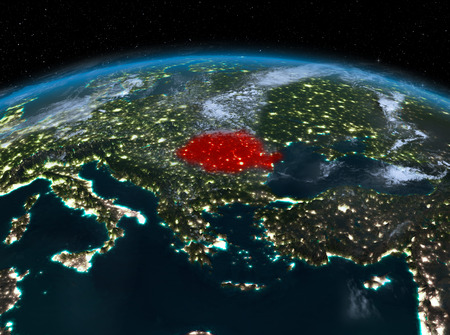 Satellite night view of romania highlighted in red on planet stock 91527898 satellite night view of romania highlighted in red on planet earth with clouds 3d illustration gumiabroncs Image collections