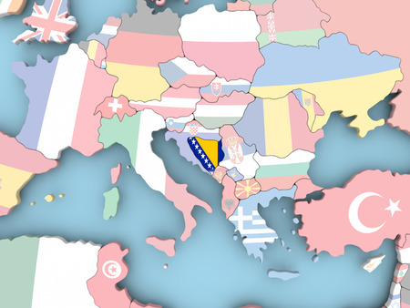 Bosnia with embedded flag. 3D illustration.
