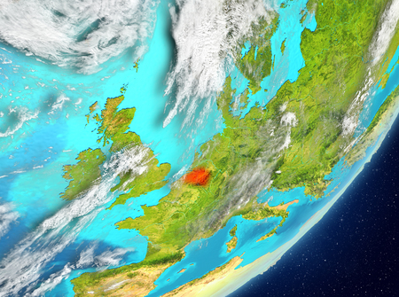 Satellite view of Belgium highlighted in red on planet Earth with clouds. 3D illustration.