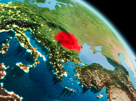 Satellite morning view of Romania highlighted in red on planet Earth. 3D illustration.