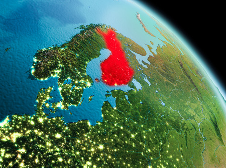 Satellite morning view of Finland highlighted in red on planet Earth. 3D illustration.