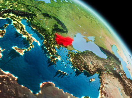 Satellite morning view of Bulgaria highlighted in red on planet Earth. 3D illustration.