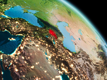 Satellite morning view of Armenia highlighted in red on planet Earth. 3D illustration. Stock Photo