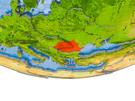 Romania on 3D model of globe with real land surface, visible country borders and water in place of ocean. 3D illustration. Stock Photo