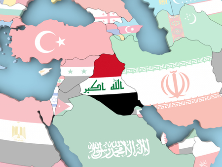 Iraq with embedded flag. 3D illustration. Stock Photo