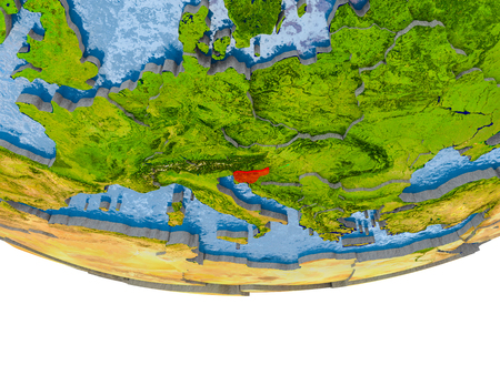 Slovenia on 3D model of globe with real land surface, visible country borders and water in place of ocean. 3D illustration.