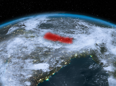 Satellite night view of Nepal highlighted in red on planet Earth with clouds. 3D illustration.
