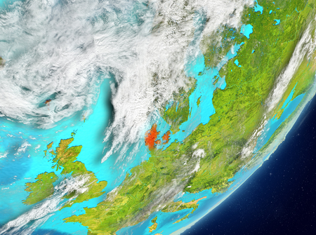 Satellite view of Denmark highlighted in red on planet Earth with clouds. 3D illustration. Stock Photo