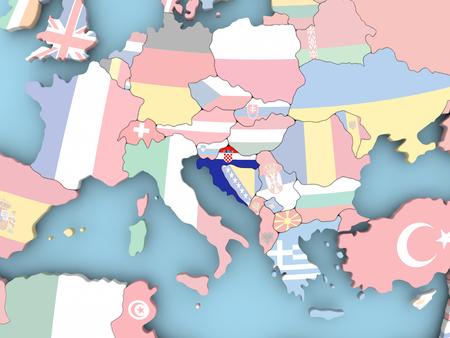 Kroatië met ingesloten vlag. 3D illustratie Stockfoto
