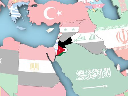 Jordanië met ingesloten vlag. 3D illustratie