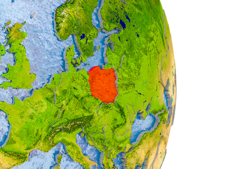 Poland in red on model of globe with embossed countries and realistic water. 3D illustration.