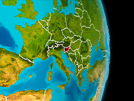 Slovenia in red on planet Earth with visible borderlines. 3D illustration.