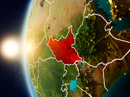 Illustration of South Sudan as seen from Earth's orbit during sunset with visible country borders. 3D illustration.