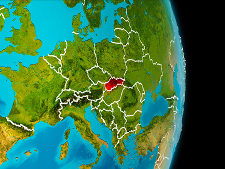 Slovakia in red on planet Earth with visible borderlines. 3D illustration. Stock Photo