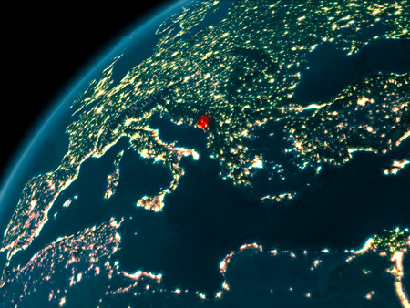 Night map of Montenegro as seen from space on planet Earth. 3D illustration.