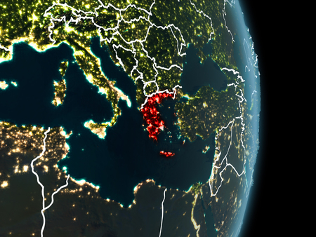 Map of Greece in red as seen from space on planet Earth at night with white borderlines and city lights. 3D illustration.