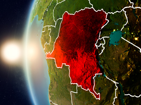 Illustration of Democratic Republic of Congo as seen from Earth's orbit during sunset with visible country borders. 3D illustration.