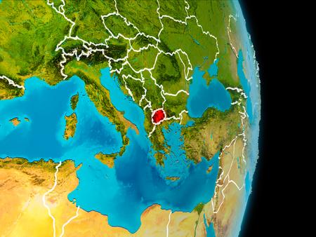 Macedonië in het rood op de planeet aarde met zichtbare grenslijnen. 3D illustratie. Stockfoto