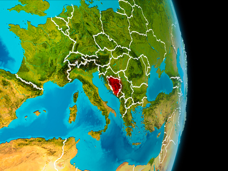 Bosnia and Herzegovina in red on planet Earth with visible borderlines. 3D illustration. Stock Photo