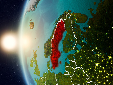 Illustration of Sweden as seen from Earth's orbit during sunset with visible country borders. 3D illustration. Stock Photo