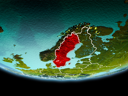 Country of Sweden in red on planet Earth in the evening with visible border lines and city lights. 3D illustration.