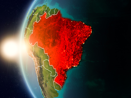 Illustration of Brazil as seen from Earth's orbit during sunset with visible country borders. 3D illustration. Stock Photo