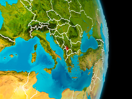 Kosovo in red on planet Earth with visible borderlines. 3D illustration.