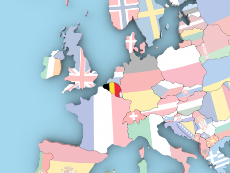 Belgium with embedded flag. 3D illustration. Stock Photo