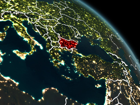 Bulgaria from orbit of planet Earth at night with visible borderlines and city lights. 3D illustration.