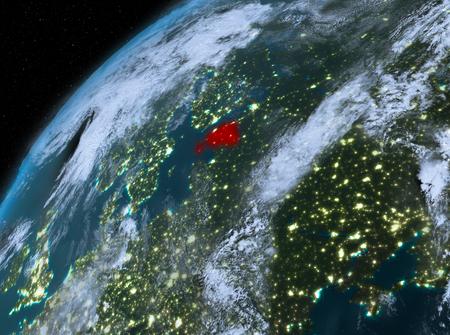 Illustration of Estonia as seen from Earth's orbit at night. 3D illustration.