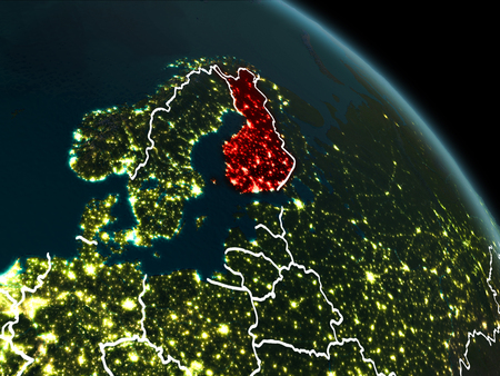 Finland from orbit of planet Earth at night with visible borderlines and city lights. 3D illustration. Stock Photo