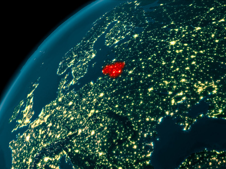 Night map of Lithuania as seen from space on planet Earth. 3D illustration.
