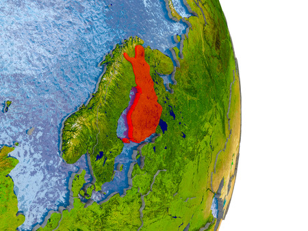 Finland in red on model of globe with embossed countries and realistic water. 3D illustration. Stock Photo