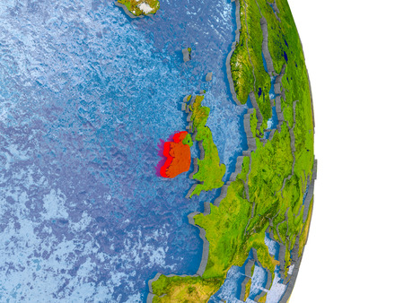 Ireland in red on model of globe with embossed countries and realistic water. 3D illustration. Stock Photo