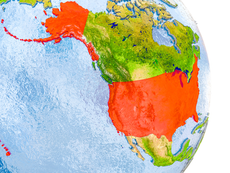 USA in red on model of globe with embossed countries and realistic water. 3D illustration.