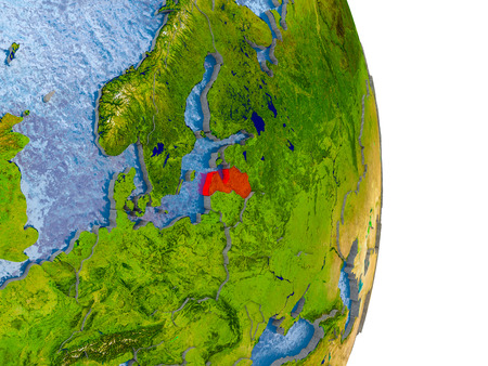 Latvia in red on model of globe with embossed countries and realistic water. 3D illustration.