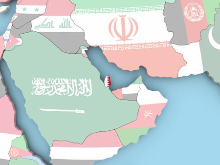 Qatar with embedded flag. 3D illustration.