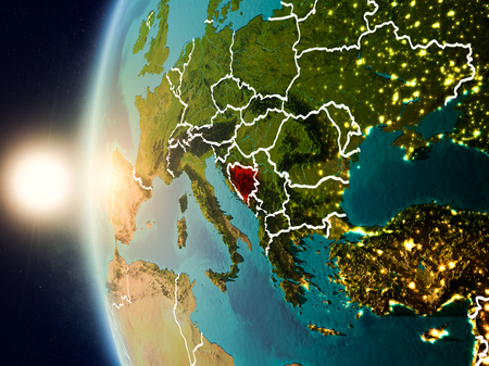 Illustration of Bosnia and Herzegovina as seen from Earth's orbit during sunset with visible country borders. 3D illustration.