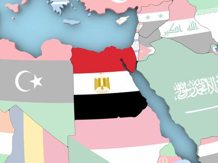 Egypt with embedded flag. 3D illustration.