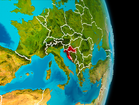 Croatia in red on planet Earth with visible borderlines. 3D illustration.