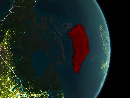 Map of greenland in red as seen from space on planet earth at illustration map of greenland in red as seen from space on planet earth at night with white borderlines and city lights 3d illustration gumiabroncs Image collections