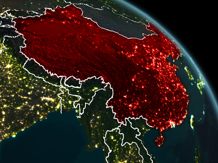 China from orbit of planet Earth at night with visible borderlines and city lights. 3D illustration. Stock Photo