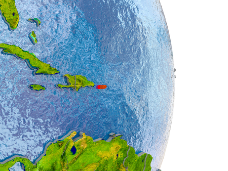 Puerto Rico in red on model of globe with embossed countries and realistic water. 3D illustration.