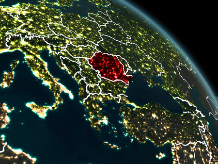 Romania from orbit of planet Earth at night with visible borderlines and city lights. 3D illustration.